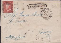 Sicilia - Lettera Assicurata Da Palermo Diretta A Termini Imerese, Affrancata Con 5 Gr. Rosa Carminio I Tav. Margine Di - Sicilia