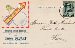 Soignies ,carte Publicitaire , Gaston  Druart  ;électricité Générale,ampoule Mazda Matintra - Soignies