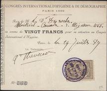 Quittance De Cotisation De 20 F Au Congrès International D'hygiène Et De Démographie Paris 1889 Fiscal 10 Ct - Fiscaux