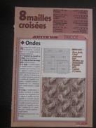 Ouvrage Tricot-8 Motifs Mailles Croisées-Loisirs Créatifs Vintage Décor-Ondes-torsades-tresses-ailettes-caducée-FicheN°1 - Laine