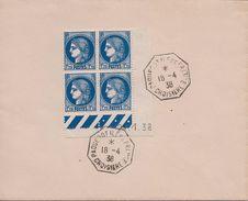 FRANCE  - 372 COIN DATE SUR LETTRE COMPAGNIE GENERALE TRANSATLANTIQUE 1938 CACHET PAQUEBOT ILE DE FRANCE - France