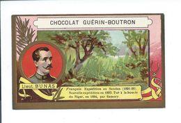 Afrique Lieut. Bunas Explorateur Chromo Bien/TB 105 X 65 Mm Colonies Françaises Guérin-Boutron - Guérin-Boutron