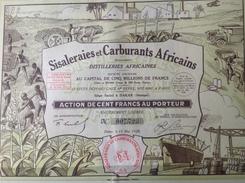 Action - Afrique - Sisaleraies Et, Carburants Africains - Distilleries - Dakar Senegal  1928 - Lot De 4 Actions - Afrique