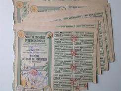 Action - Afrique - Sté Minière Intercoloniale - Berberati 1945  - Afrique Equatoriale Francaise _ Lot De 20 Part Fondate - Afrique