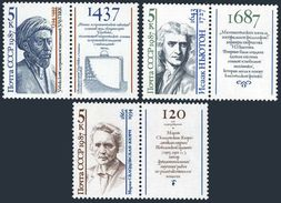 USSR Russia 1987 Scientists Sciences Muhammed Isaac Newton Marie Curie Physicist Chemistry People Stamps MNH Mi 5757-59 - Chemistry