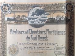 Action - France - Marine - Ateliers Et Chantiers Maritimes Du Sud-ouest - Paris 1924 - Lot De 2  Part Beneficiaire - Navigation