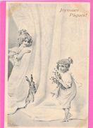 VIENNOISE MM VIENNE - Deux Petites Filles, Grand Rideau Et Lapin - Pâques - WICHERA - Fantasie