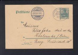Dt. Reich GSK 1905 Bahnpost Nach Karlsruhe - Briefe U. Dokumente