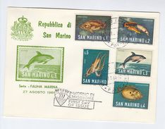 1966 San Marino FDC Stamps FISH Cover - FDC