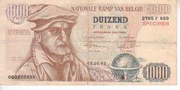 1000 Francs Belges - Billet Humoristique - [ 8] Vals En Specimen