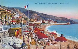 Menton, Lot De 2 Cpa Plage Du Midi  Et Vue Générale - Menton