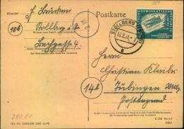 1951, 12Pfg.Wintersport Als EF Auf Postkarte Ab STOLLBERG (SACHSEN). - DDR