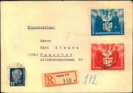 1951, Deutsch-Polnische Freundcshaft Komplette Mit Zusatzfrankatur Auf Portogerechtem Einschreiben Ab LEIPZIG S 12 - DDR