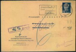 1954, Brief Mit Eingedrucktem Absender NATIONALES OLYMPISCHES KOMITEE DER DDR. Nachgebühr. - DDR