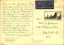 1966, 30 Pfg. Landschaftsschutz Als Seltene EF Auf Luftpostkarte Nach New York. - DDR