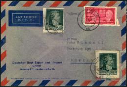 1956, Luftpostbrief Mit 2-mal 5 Pfg. Schiller Aud Block 12 Und 40 Pfg. Liebknecht. Spuren Aber Seltener. - DDR