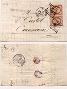 Lettre (Bordereau Banque) Adressée De Toulouse A Carcassonne - PC 3383 Sur Paire Yvert N° 16 - Couleur ?  (99592) - 1853-1860 Napoléon III