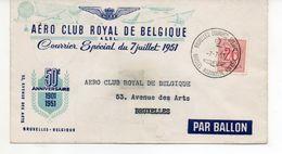 COURRIER PAR BALLON   6 Pieces  Aero Club Royal De Belgique  Courrier Special Du 7 Juillet 1951 50e Ann 1901 1951 - Vieux Papiers
