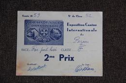 BEZIERS - 2eme Prix D'Exposition Canine Internationale En 1959 Pour Le FOX - Diploma & School Reports