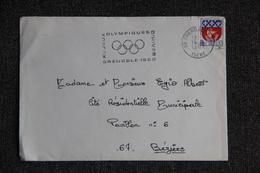 Yimbre Sur Lettre De GRENOBLE à BEZIERS, Flamme Jeux Oympiques De 1968 - France