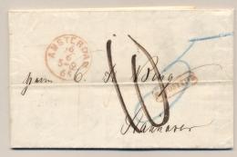 Nederland - 1865 - Complete Vouwbrief Van Amsterdam - Na Posttijd - Naar Hannover / Nachts - Niederlande