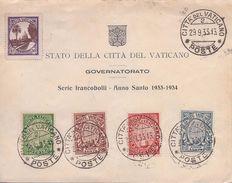 VATICAN - 40/43  ANNEE SAINTE 1933-1934 COMPLETE OBL USED SUR DOCUMENT COTE 75 EUR - Lettres & Documents