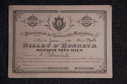 BEZIERS - Billet D'Honneur Mention TB, Collège De L'Immaculée Conception - Diploma & School Reports