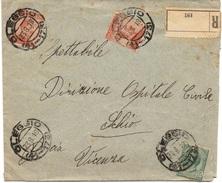 OLEGGIO (FRAZIONARIO) Per SCHIO + VICENZA - 23.8.1918 - Busta RACCOMANDATA 45c. Michetti + Leoni 4/132 - 1900-44 Victor Emmanuel III.