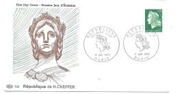 SUR  LETTRE.    PREMIER JOUR....1° JANVIER 1969...MARIANE DE SHEFFER.. TBE - Marcophilie (Lettres)