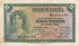 ESPAÑA // -- 5 PESETAS ( 1935 ) -- VF - [ 2] 1931-1936 : Republiek