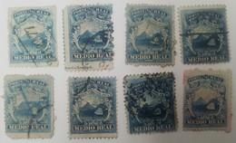 O) 1877 COSTA RICA, 1/2 REAL BLUE, GOLDEN GRAIN-COFFEE,MOISTURIZING VOLCANES-VOLCANO, PACIFIC OCEAN, CARIBBEAN SEA,MERCH - Costa Rica