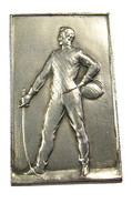Belgique - Médaille-plaque - Championnat D'épée Juniors - 6ème Prix - Argent - 53x30mm - TTB - - Professionals / Firms