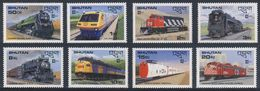 "Bhutan 1987 Mi 1028 /35 + B143 + B144 ** Canadian Railways / Kanadische Lokomotiven - ""Capex '87, Toronto - Bhutan"