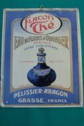 "PUBBLICITA'_ADVERTISING_SU CARTONE_""Flacon Thé"" EAU De FLEURS D'ORANGER"" Pélissier-Aragon_GRASSE-France_ - Targhe Di Cartone"