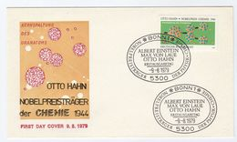 1979 GERMANY FDC Stamps OTTO HAHN Nobel Prize CHEMISTRY  RADIOACTIVITY Cover Nuclear Atomic - Chemistry