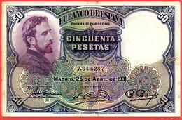 BILLETE DE 50 PESETAS DE ESPAÑA. MADRID, 25 DE ABRIL DE 1931. E. ROSALES. - [ 1] …-1931 : Primeros Billetes (Banco De España)