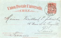 CHILE - Union Postale Universelle - Entier Postal Pour La France En 1896 - 2 Scans - Chili