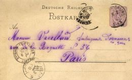DEUTSCHE REICHSPOST - Entier Postal - Château-Salins Pour Paris - 1888 - Allemagne