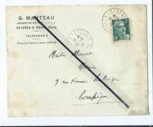 Enveloppe Ancienne De 1945 Timbrée -  G.Marteau - Géomètre Expert - Estrées Saint Denis -(Oise )  Dest : Notaire - Marcofilie (Brieven)