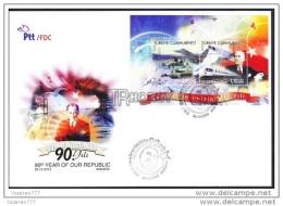 OD-1657 TURKEY 90TH YEAR OF OUR REPUBLIC  AIRPLANE TRAIN SAT TANK F.D.C. - 1921-... République