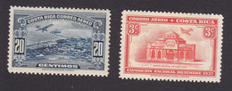 Costa Rica, Scott #C33, C36, Mint Hinged, Puntarenas, National Bank, Issued 1937-38 - Costa Rica