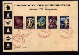 Jugoslawien / Yugoslavia / Yougoslavie 1950 Schach Olympiade / Chess Olympiad Dubrovnik Michel 616-620 FDC  Red Postmark - Covers & Documents