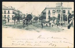 SEVILLA ESPANA - Original CPA 1902 Vista Desde El Puente De Triana-  Recto Verso - Paypal Free - Sevilla