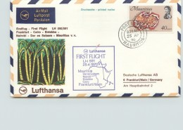 1970  Lufthansa  First Flight Mauritius - Frankfurt  SG 372 - Maurice (1968-...)