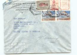 1952  Lettre Avion Pour Les USA  Année Mariale, Avec Vignette,Congrès Du Tourisme Africain X2, Poisson - Mozambique
