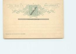 1914 Entier Postal Carte Réponse Surchargée REPUBLICA   Et Mention «Réponse Payée» Oblitérée - Mozambique