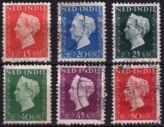 Ned. Indië: 1948 Koningin Wilhelmina 6 Waarden Uit De Serie Gestempeld NVPH 337 / 341 - 343 - Indes Néerlandaises