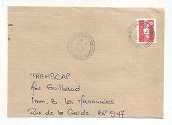 OBLITERATION MANUELLE SUR LETTRE DE LAMENTIN PLACE D'ARMES MARTINIQUE 1999 - Marcophilie (Lettres)
