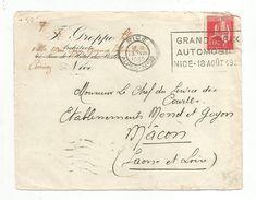 OBLITERATION MECANIQUE SUR DEVANT DE LETTRE DE NICE DU 13/8/1935  GRAND PRIX AUTOMOBILE - Marcophilie (Lettres)