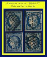 N° 4 CÉRÈS IIe RÉPUBLIQUE 1850 - 4 NUANCES OBLITÉRÉS ST : FILET TOUCHÉ OU COUPÉ / OBLITÉRATION LOURDE- GRILLE - - 1849-1850 Ceres